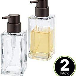 mDesign Square Glass Refillable Liquid Soap Dispenser Pump Bottle for Bathroom Vanity Countertop,... | Amazon (US)