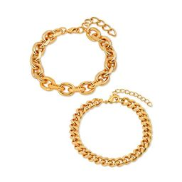"""Scoop 14KT Gold Flash Plated Brass Oval Link and Curb Chain Bracelet Set, 7.75""""   Walmart (US)"""