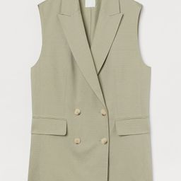 Oversized, sleeveless, double-breasted jacket in a woven linen and viscose blend. Notched lapels,... | H&M (US)