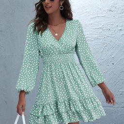 Allover Print Surplice Front Layered Hem Dress | SHEIN