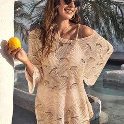 Drop Shoulder Open Knit Cover Up Without Bikini | SHEIN