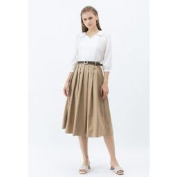 Classic Belted Pleated Midi Skirt in Tan | Chicwish