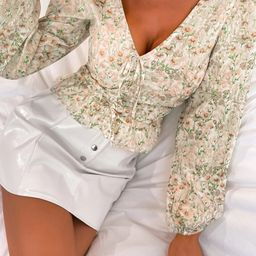 Allover Floral Knot Ruched Blouse   SHEIN