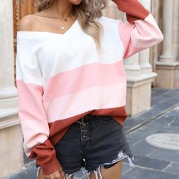 Gaovot Women's Pullover Sweaters pink - Pink & White Multicolor Block V-Neck Sweater - Women   Zulily