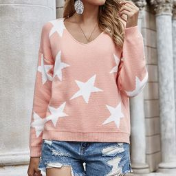 GYK Women's Pullover Sweaters pink - Pink Stars V-Neck Sweater   Zulily