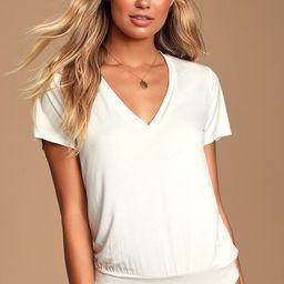 Adyn White V-Neck T-Shirt Bodysuit | Lulus (US)