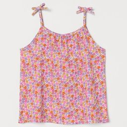 Flared tank top in soft cotton jersey with a printed pattern. Narrow shoulder straps with a sewn ...   H&M (US)