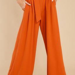 Say Less Burnt Orange Pants   Red Dress