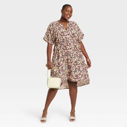Women's Plus Size Short Sleeve Shirtdress - Ava & Viv Burgundy Floral Print 3X, Red | Target