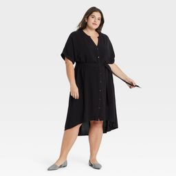 Women's Plus Size Short Sleeve Shirtdress - Ava & Viv Black X | Target