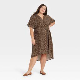 Women's Plus Size Short Sleeve Shirtdress - Ava & Viv Brown Animal Print 1X | Target