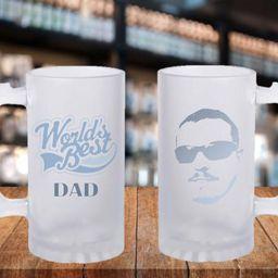 Frosted Mug Stein Worlds Best Dad Gift Ideas, Father Gift Idea, Worlds Best Dad, Portrait Gift Id...   Etsy (US)