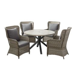 Better Homes and Gardens Victoria Outdoor Dining Patio Set, Cushioned Wicker 5 Piece | Walmart (US)