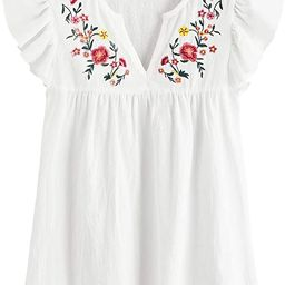 Floerns Women's Boho Embroidered Mexican Peasant Shirts Babydoll Tops Blouses   Amazon (US)