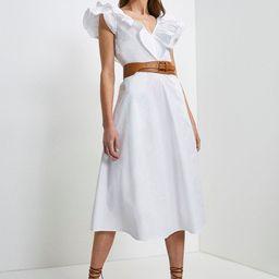 Cotton Poplin Ruffle Dress | Karen Millen UK & IE