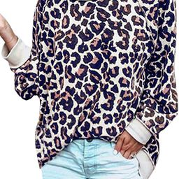 ECOWISH Women's Camouflage Print Casual Leopard Pullover Long Sleeve Sweatshirts Top Blouse   Amazon (US)