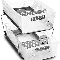 madesmart 2-Tier Organizer Bath Collection Slide-out Baskets with Handles, Space Saving, Multi-pu... | Amazon (US)