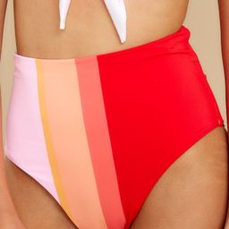 Ready For The Sun Red Multi Stripe Bikini Bottoms   Red Dress