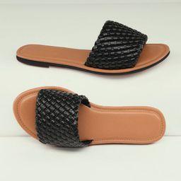 Basketweave Faux Leather Slide Sandals | SHEIN