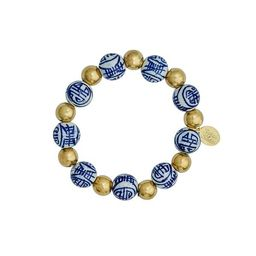 Blue & White and Gold Bracelet   Susan Shaw