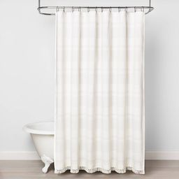 Textured Stripe Shower Curtain White - Hearth & Hand™ with Magnolia   Target