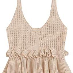 SweatyRocks Women's Casual Knit Top Sleeveless Ruffle Hem V Neck Peplum Crop Tank Top | Amazon (US)