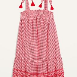 Sleeveless Tiered Gingham Swing Mini Dress for Women | Old Navy (US)