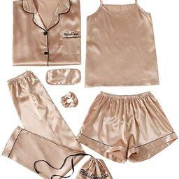SheIn Women's 7pcs Pajama Set Cami Pjs with Shirt and Eye Mask | Amazon (US)