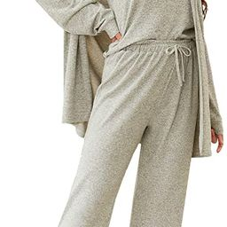 WDIRARA Women's 3 Pieces Sleepwear Cami and Pants Casual Pajama Set with Robe | Amazon (US)