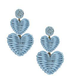 Blue Bonnet Double Heart Rattan Earrings | Teggy French
