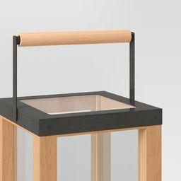 Iron and Wood Pillar Outdoor Lantern Candle Holder Brown - Threshold™ | Target