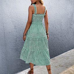 Ditsy Floral Frill Trim Cami Dress   SHEIN