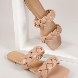New             Faux Leather Dual Braided Vamp Sandals   SHEIN