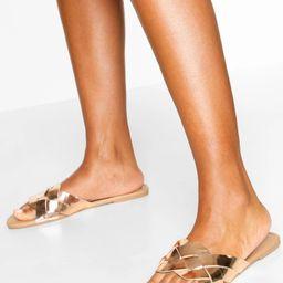 Metallic Plait Strap Square Toe Slides | Boohoo.com (US & CA)
