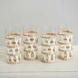 Natural Seagrass Overlay Tumbler Glasses, Set of 4   Kirkland's Home