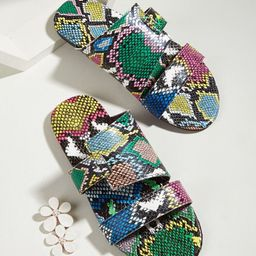 Snakeskin Print Slide Sandals | SHEIN