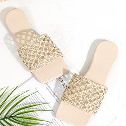 Braided Hollow Out Slide Sandals | SHEIN