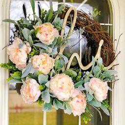 Summer Wreath Peonies & Lambs Ear Wreath with Hi Wooden Sign Welcome Front Door Spring Mother's... | Etsy (US)