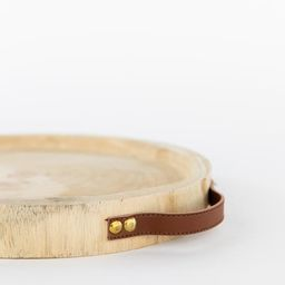 Carved Paulownia & Leather Tray | McGee & Co.