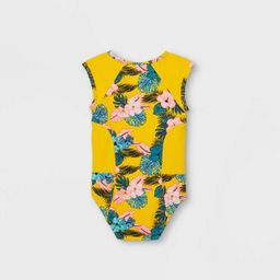 Toddler Girls' Floral Zip-Front One Piece Swimsuit - Cat & Jack™ Yellow   Target