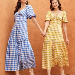 1pc Blue And White Gingham Covered Button Milkmaid Dress | SHEIN