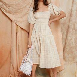 SHEIN Gingham Puff Sleeve Dress | SHEIN