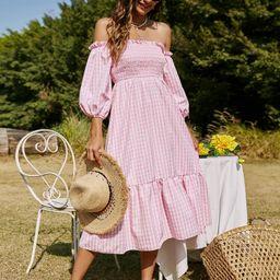 Frill Off Shoulder Shirred Bodice Ruffle Hem Striped Dress | SHEIN