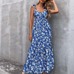 Allover Floral Knot Shoulder Cami Dress | SHEIN