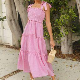 SHEIN Tie Shoulder Shirred Panel Buffalo Plaid Layered Dress | SHEIN