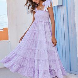Gingham Shirred Pom Pom Detail Cami Dress | SHEIN