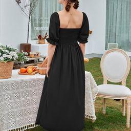 Bishop Sleeve Shirred A-line Dress | SHEIN