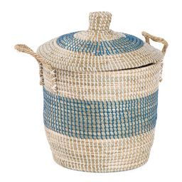 Small Striped Round Hamper With Rope Handles | TJ Maxx