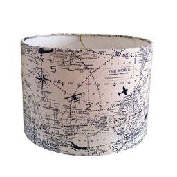 Drum Airplane Lamp Shade  Vintage World Map Navy Blue Natural | Etsy | Etsy (US)