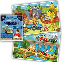 Animals On-The-Go Plastic Disposable Placemats for Boys, Baby, Toddler, Kids - Neat and Sticky Tr... | Amazon (US)